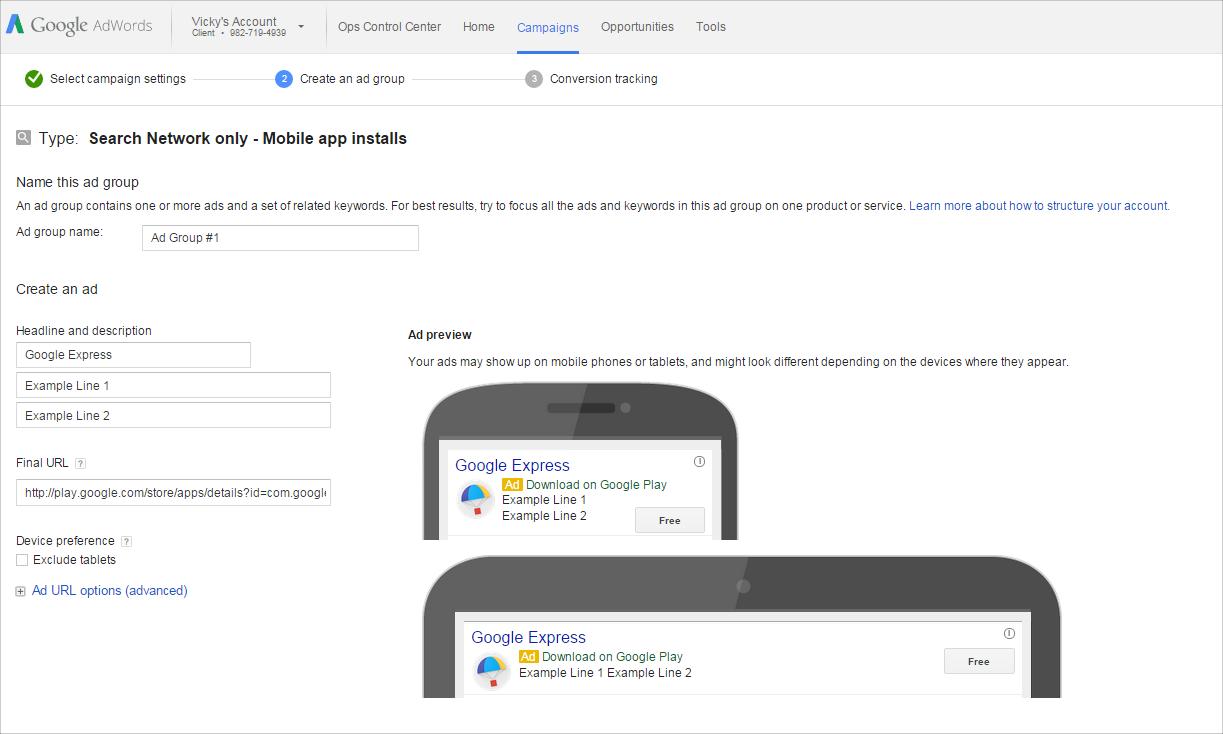 Search Ads   Google Play Setup