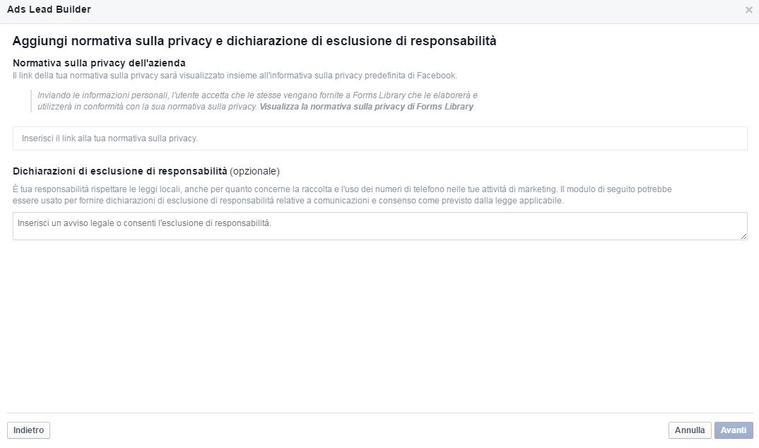 Normativa Privacy - Crea nuovo modulo - Guida Facebook Lead ADS 5