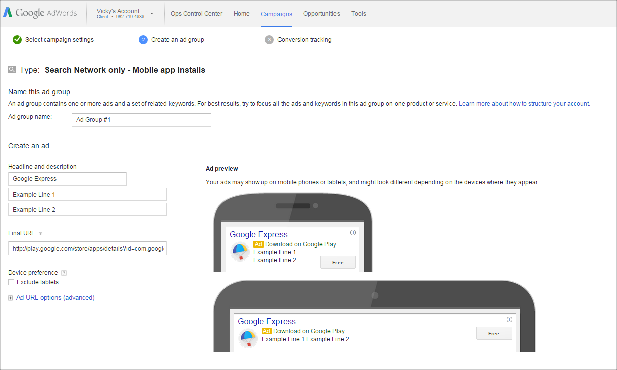 Search Ads | Google Play Setup