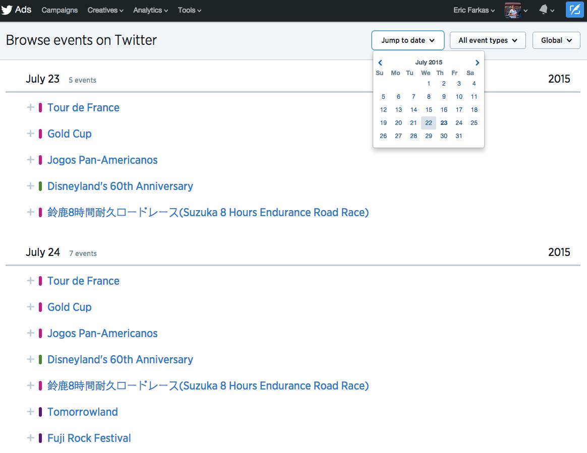 Calendario Eventi Twitter