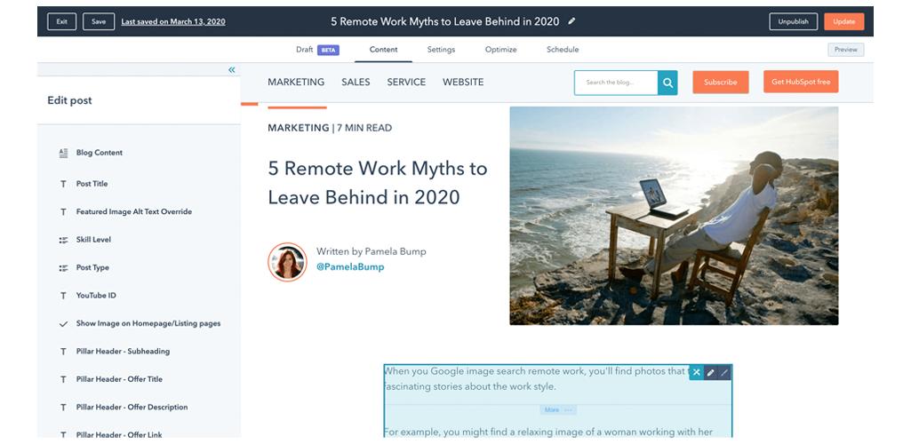 HubSpot Blog editor